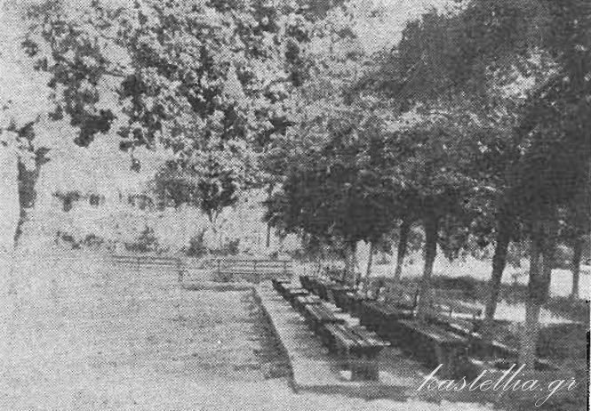 Luxurious benches outside the church (1973)